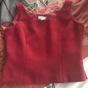 TAHARI Red Zip Up Blouse